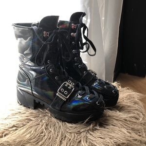 Black reflective combat lugg boots